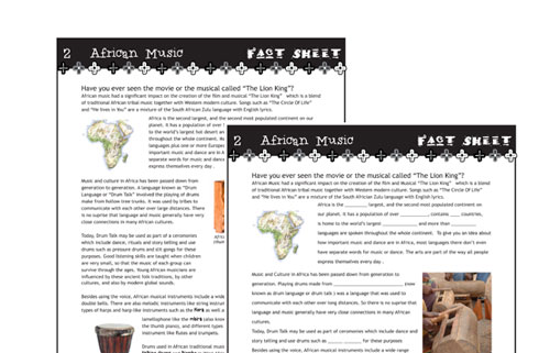 Two different styles of fact sheet available in world music module