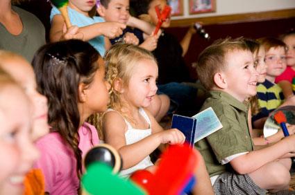 Children enjoying a preschool music lesson