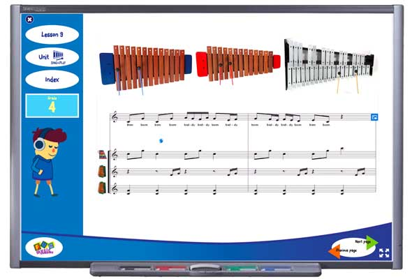 Sample tuned percussion activity from Grade 4